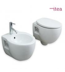 Set Sanitari Bidet Wc E Sedile Coprivaso Serie Prime Sospesa In Ceramica