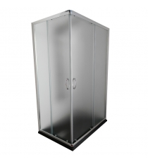 Box Doccia Mod. Stier L70xp70xh185 Angolare Scorrevole Cristallo 6mm Texture Profilo In Alluminio Cromato