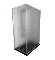 Box Doccia Mod. Stier L80xp120xh185 Angolare Scorrevole Cristallo 6mm Texture Profilo In Alluminio Cromato