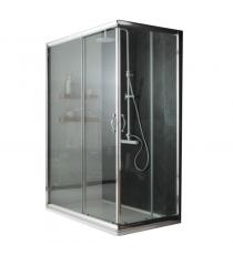 Box Doccia Mod. Stier L80xp100xh185 Angolare Scorrevole Cristallo 6mm Trasparente Profilo In Alluminio Cromato