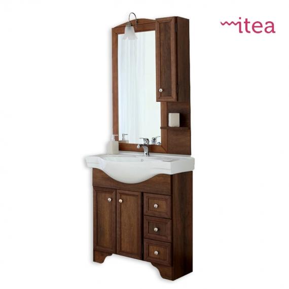 Mobile bagno Arte Povera 80 cm 2 ante 3 cassetti con specchiera pensile e  applique arte povera con zoccolo