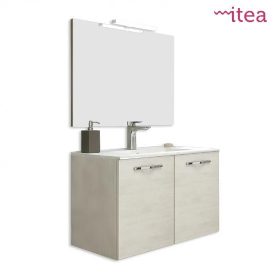 Mobile bagno Corallo 60 cm 2 ante con specchiera e applique rovere bianco  sospeso