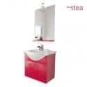 Mobile Bagno Ginevra 55 Cm 1 Anta Con Specchiera Pensile E Applique Laccato Rosso Sospeso