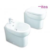 Set Sanitari Bidet Wc E Sedile Coprivaso Serie M2 Cm 50 Filo Muro In Ceramica