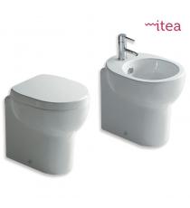Set Sanitari Bidet Wc E Sedile Coprivaso Serie M2 Cm 45 Filo Muro In Ceramica
