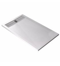 Piatto Doccia Stone Cach Rettangolare Marmoresina Bianco Slim Riducibile Con Piletta Spessore 3cm.