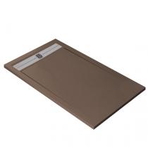 Piatto Doccia Stone Cach Rettangolare Marmoresina Moka Slim Riducibile Con Piletta Spessore 3cm.