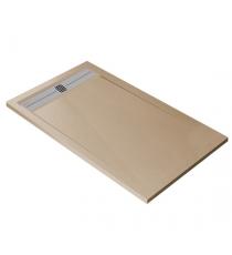 Piatto Doccia Stone Cach Rettangolare Marmoresina Sabbia Slim Riducibile Con Piletta Spessore 3cm.