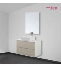 Mobile Bagno Circol 93 Cm 2 Ante Specchiera E Applique Laccato Bianco Sospeso