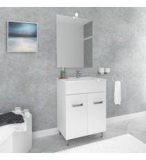 Mobile Bagno Matilde 60 Cm 2 Ante Con Specchiera E Applique Laccato Bianco Con Piedini