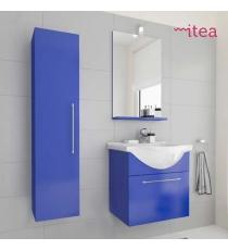 Mobile Bagno Ginevra 55 Cm 1 Anta Con Specchiera Pensile E Applique Laccato Blu Sospeso