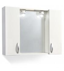 Specchio 2 Ante Liscio Bianco C/maniglia Moon Led