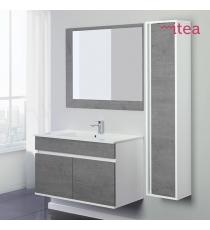 Mobile Bagno Facula 90 Cm 2 Ante Con Specchiera Bianco Cemento Sospeso