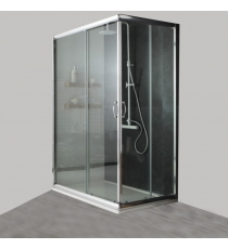 Box Doccia Mod. Stier L80xp80xh185 Angolare Scorrevole Cristallo 6mm Trasparente Profilo In Alluminio Cromato
