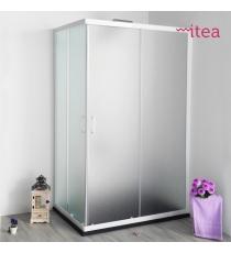 Box Doccia Mod. Bik L75xp75xh185 Angolare Scorrevole Cristallo 4mm Perlato Profilo In Alluminio Bianco