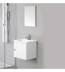 Mobile Bagno Si 50 Cm 1 Anta Con Specchiera Laccato Bianco Sospeso