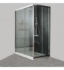 Box Doccia Mod. Stier L70xp120xh185 Angolare Scorrevole Cristallo 6mm Trasparente Profilo In Alluminio Cromato