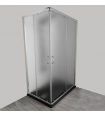 Box Doccia Mod. Stier L70xp120xh185 Angolare Scorrevole Cristallo 6mm Texture Profilo In Alluminio Cromato