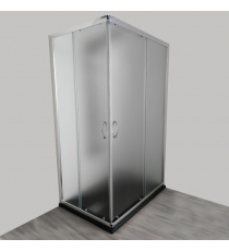 Box Doccia Mod. Stier L80xp100xh185 Angolare Scorrevole Cristallo 6mm Texture Profilo In Alluminio Cromato