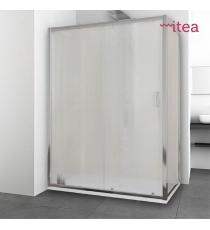 Box Doccia Mod. Dem L70xp120xh195 Angolare Scorrevole Cristallo 6mm Texture Profilo In Alluminio Cromato