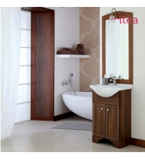Mobile Bagno Arte Povera Mod. Natalia 55 Cm 2 Ante Con Specchiera E Applique Con Zoccolo