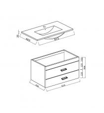 Mobile Bagno Fly 80 Cm 2 Cassetti Con Specchiera Contenitore E Applique Laccato Blu Notte Sospeso