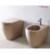 Set Sanitari Bidet Wc E Sedile Coprivaso Serie Koral Filo Muro In Ceramica
