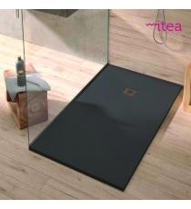 Piatto Doccia Stone Plus Rettangolare Marmoresina Antracite Slim Riducibile Con Piletta Spessore 3cm.