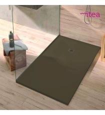 Piatto Doccia Stone Plus Rettangolare Marmoresina Moka Slim Riducibile Con Piletta Spessore 3cm.