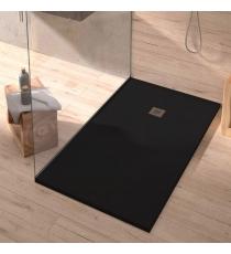 Piatto Doccia Stone Plus Rettangolare Marmoresina Nero Slim Riducibile Con Piletta Spessore 3cm.