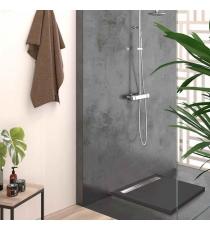 Piatto Doccia Stone Cach Quadrato Marmoresina Antracite Slim Riducibile Con Piletta Spessore 3cm.