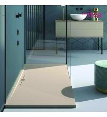 Piatto Doccia Stone Side Rettangolare Marmoresina Crema Effetto Pietra Slim Riducibile Con Piletta Spessore 3cm.
