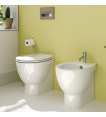 Set Sanitari Bidet Wc E Sedile Coprivaso Serie Light  New Cm 50 Catalano Filo Muro In Ceramica
