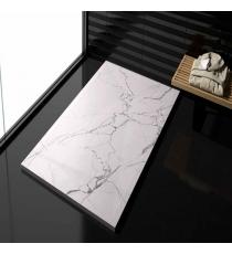 Piatto Doccia Stone 3d Marmo Bianco Rettangolare Marmoresina Slim Riducibile Con Piletta Spessore 3cm.