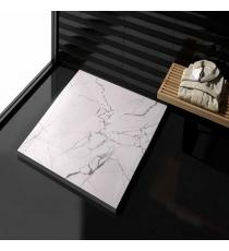 Piatto Doccia Stone 3d Marmo Bianco Quadrato Marmoresina Slim Riducibile Con Piletta Spessore 3cm.