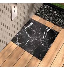 Piatto Doccia Stone 3d Marmo Nero Quadrato Marmoresina Slim Riducibile Con Piletta Spessore 3cm.