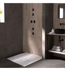 Piatto Doccia Stone 3d Microcemento Quadrato Marmoresina Slim Riducibile Con Piletta Spessore 3cm.