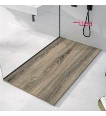 Piatto Doccia Stone 3d Legno Cenere Rettangolare Marmoresina Slim Riducibile Con Piletta Spessore 3cm.