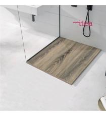 Piatto Doccia Stone 3d Legno Cenere Quadrato Marmoresina Slim Riducibile Con Piletta Spessore 3cm.