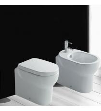 Set Sanitari Bidet Wc E Sedile Coprivaso Serie M2 Cm 55 Traslato Filo Muro In Ceramica