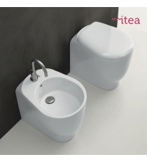 Set Sanitari Bidet Wc E Sedile Coprivaso Serie Normal Filo Muro In Ceramica