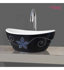 Lavabo Modello Artistico Lza01 41.5x34x17 Da Appoggio In Ceramica