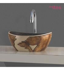 Lavabo Modello Artistico Lza04 41.5x34x17 Da Appoggio In Ceramica