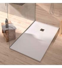 Piatto Doccia Easy Stone Rettangolare Marmoresina Bianco Slim Riducibile Con Piletta Spessore 2,5cm.