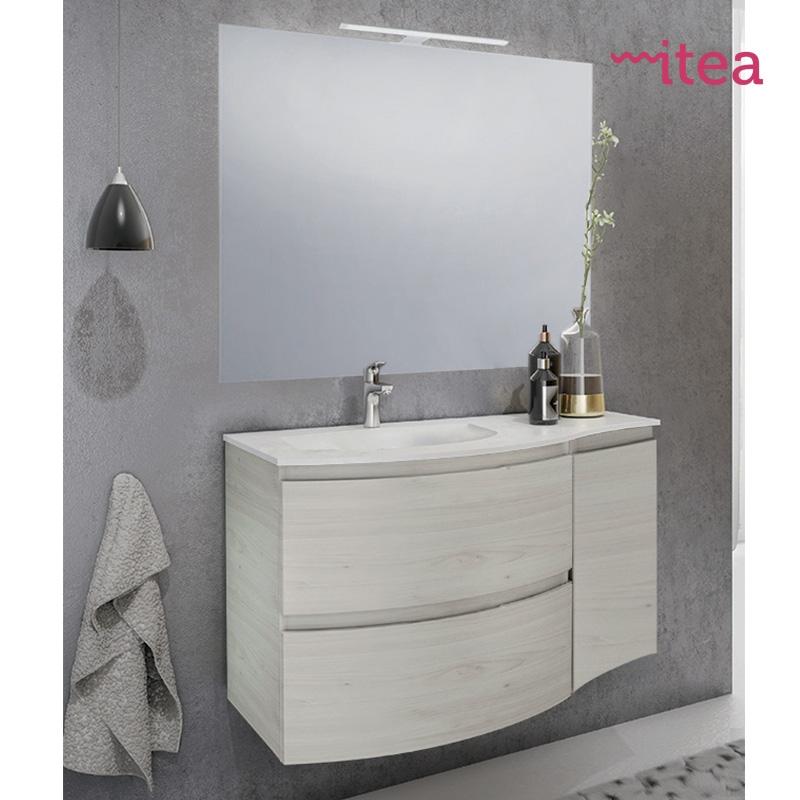 Mobile bagno Monia 104 cm 1 anta 2 cassetti con specchiera e