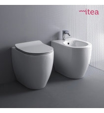 Set Sanitari Bidet Wc E Sedile Coprivaso Serie Glomp Filo Muro In Ceramica