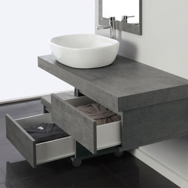 Mobile Bagno Shelf 120 Cm Mensola Con Lavabo Ciotola E Specchiera Effetto Cemento Sospeso